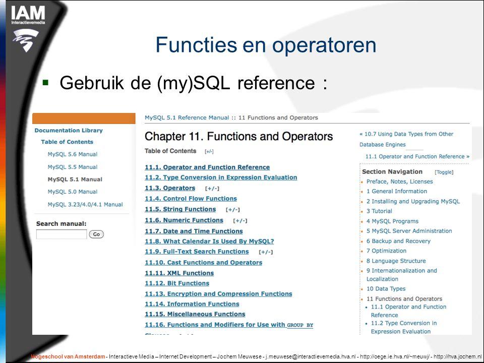 Functies en operatoren