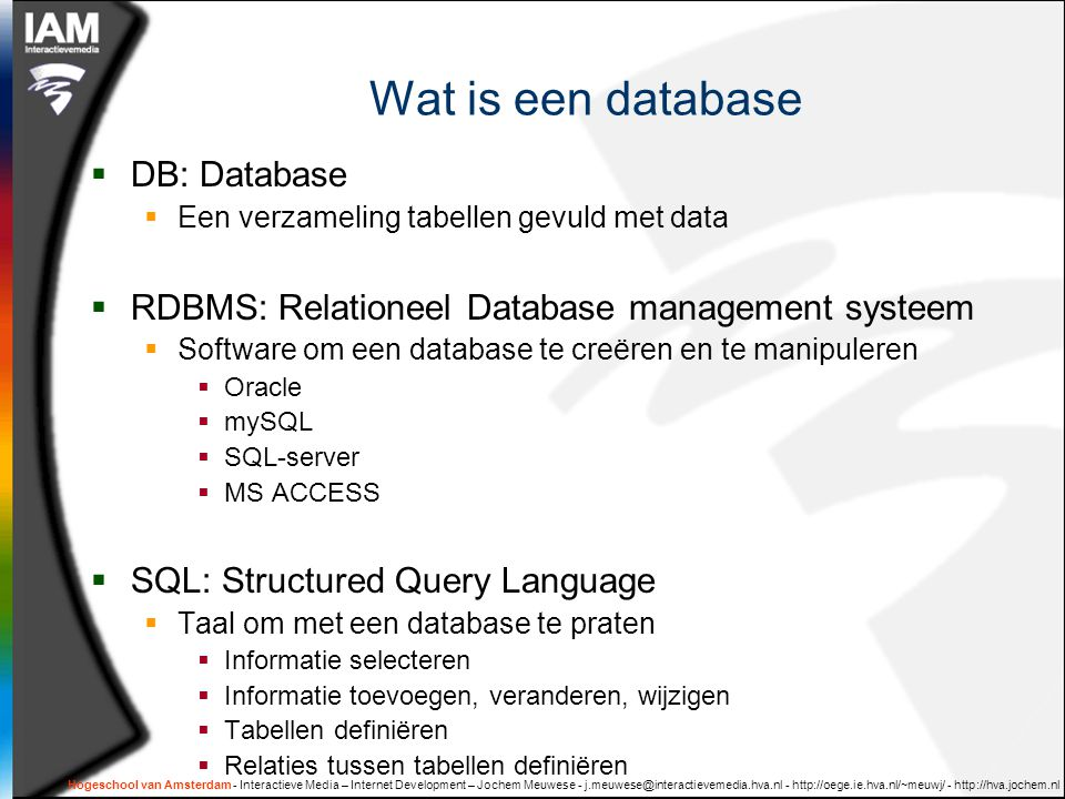 Wat is een database DB: Database