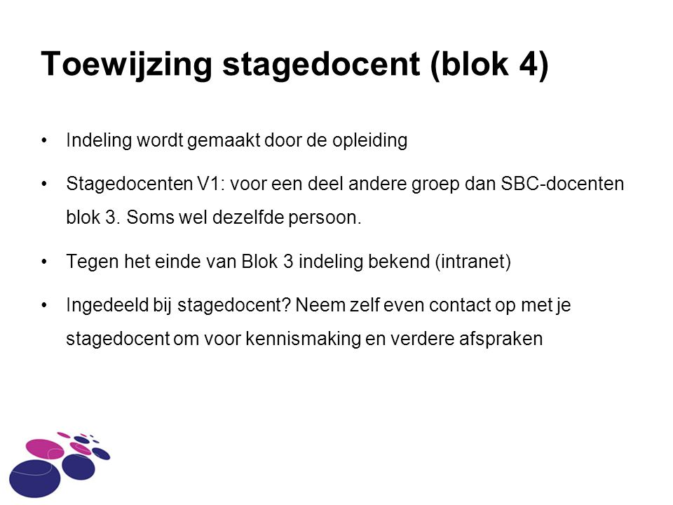 Toewijzing stagedocent (blok 4)