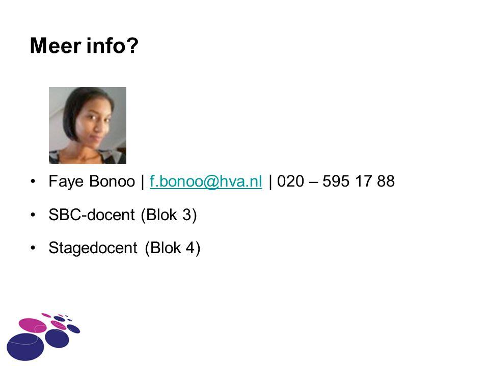 Meer info Faye Bonoo | f.bonoo@hva.nl | 020 – 595 17 88