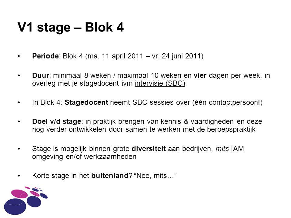 V1 stage – Blok 4 Periode: Blok 4 (ma. 11 april 2011 – vr. 24 juni 2011)