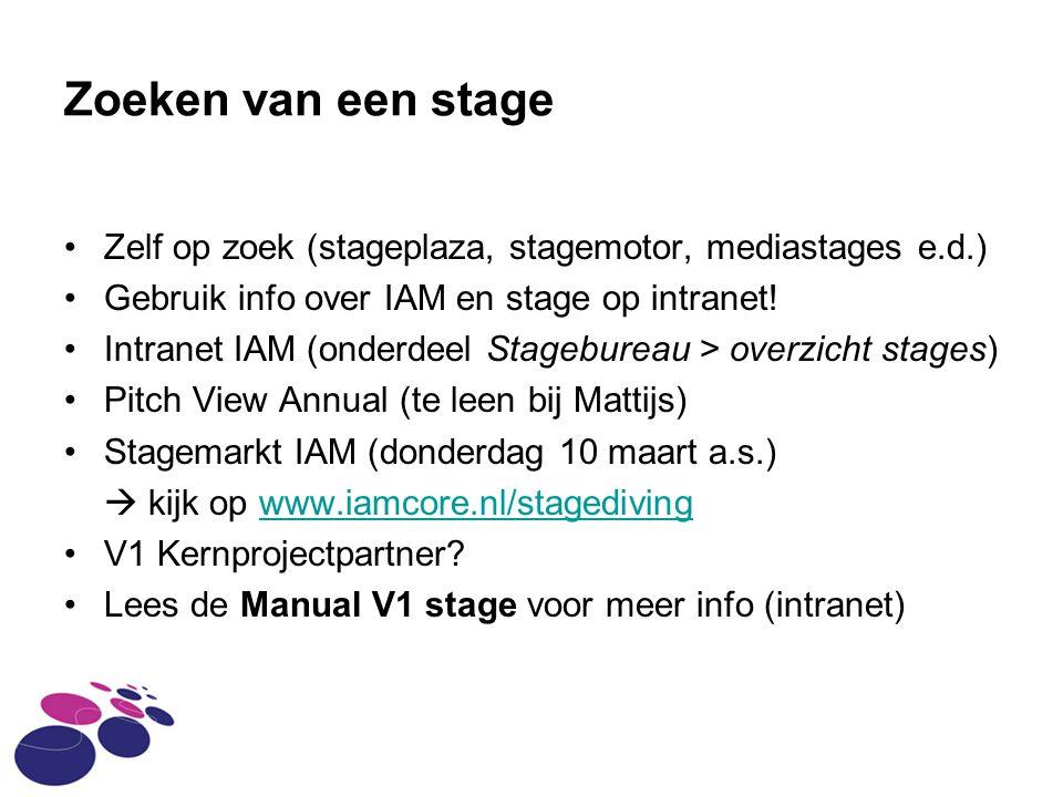 Zoeken van een stage Zelf op zoek (stageplaza, stagemotor, mediastages e.d.) Gebruik info over IAM en stage op intranet!