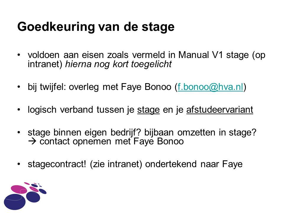 Goedkeuring van de stage