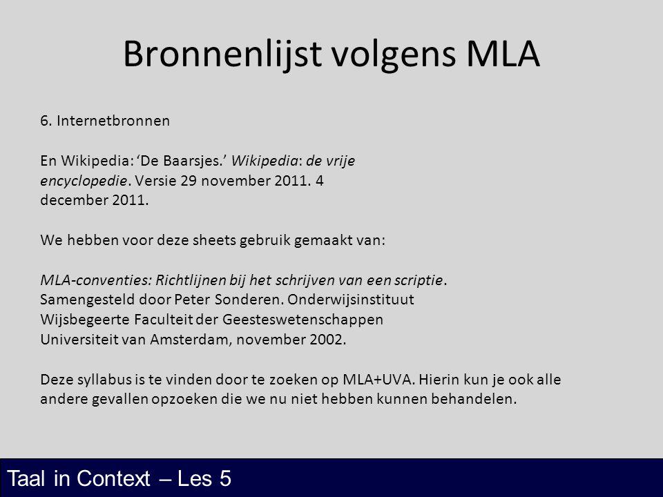 Bronnenlijst volgens MLA
