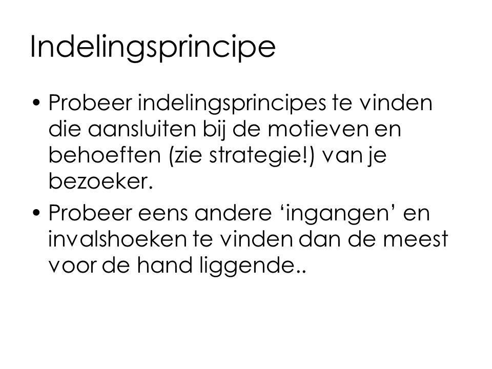 Indelingsprincipe Probeer indelingsprincipes te vinden die aansluiten bij de motieven en behoeften (zie strategie!) van je bezoeker.