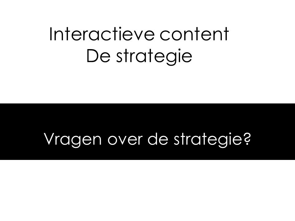 Interactieve content De strategie