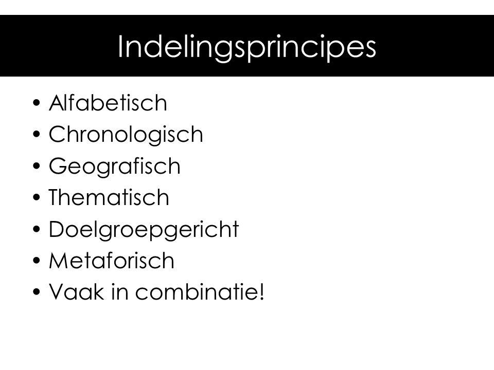 Indelingsprincipes Alfabetisch Chronologisch Geografisch Thematisch