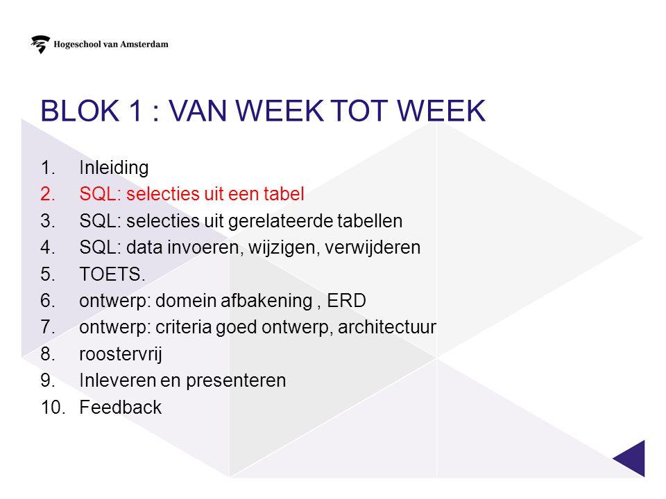 BLOK 1 : van week tot week Inleiding SQL: selecties uit een tabel