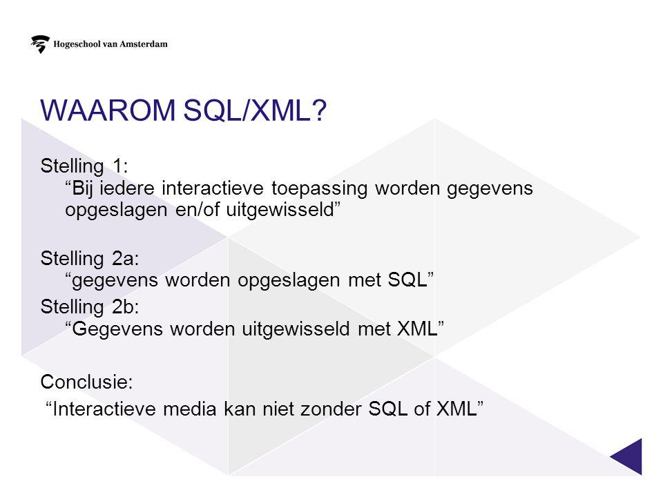 Waarom SQL/XML