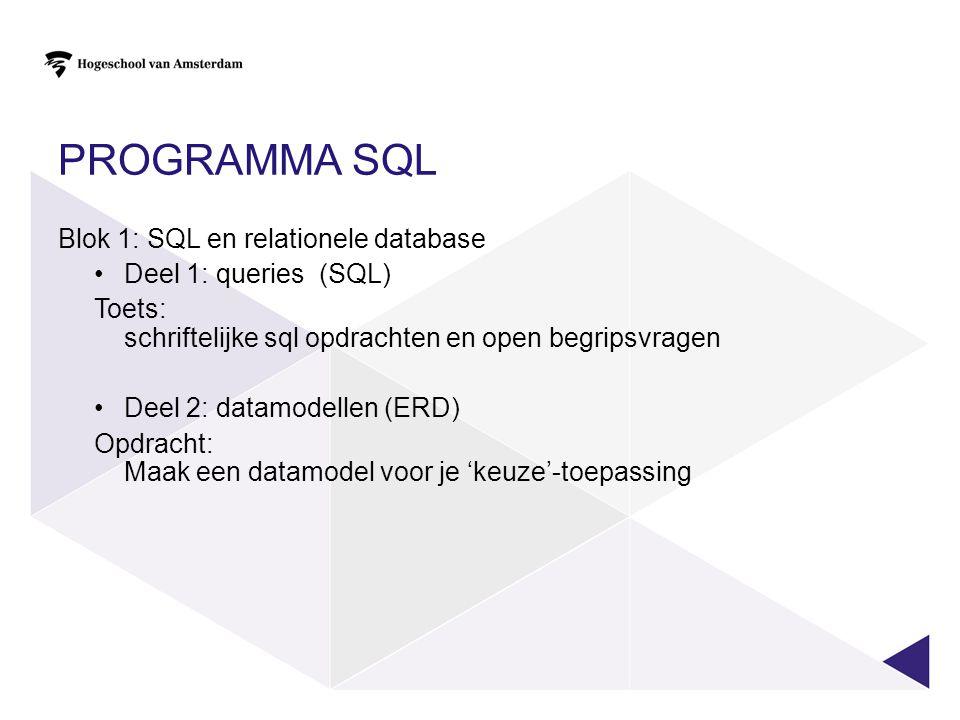 Programma SQL Blok 1: SQL en relationele database