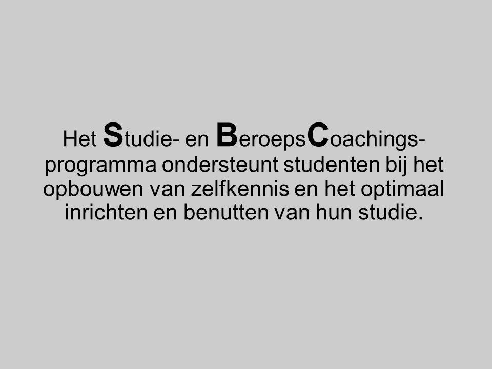 Het Studie- en BeroepsCoachings-programma ondersteunt studenten bij het opbouwen van zelfkennis en het optimaal inrichten en benutten van hun studie.