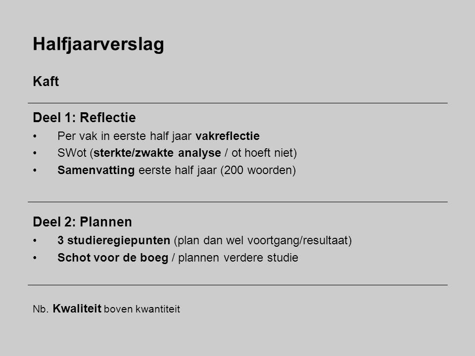 Halfjaarverslag Kaft Deel 1: Reflectie Deel 2: Plannen
