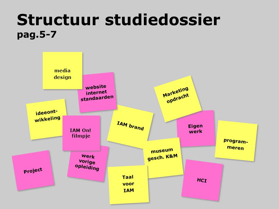 Structuur studiedossier pag.5-7