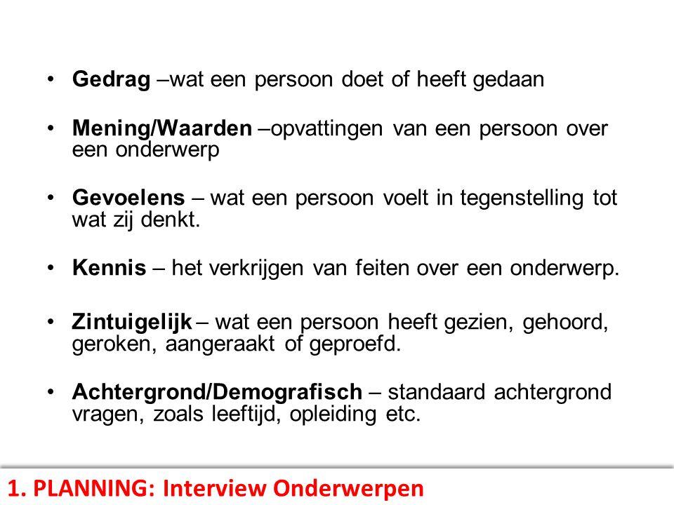 1. PLANNING: Interview Onderwerpen