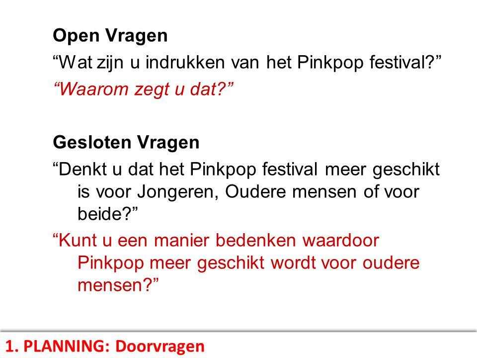 Open Vragen Wat zijn u indrukken van het Pinkpop festival Waarom zegt u dat Gesloten Vragen.