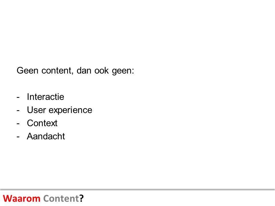 Waarom Content Geen content, dan ook geen: Interactie User experience