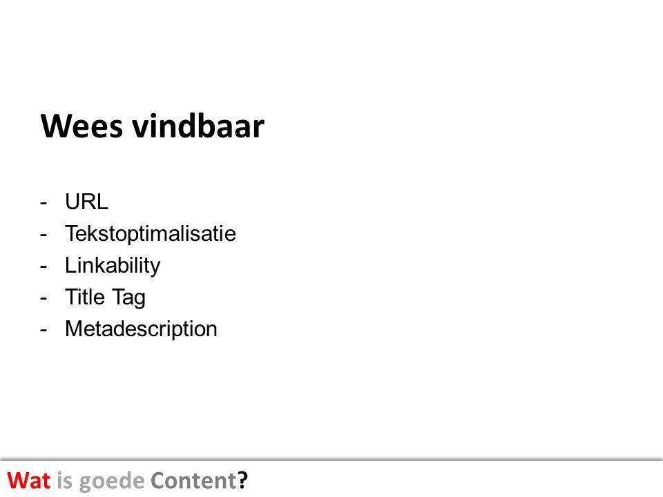 Wees vindbaar Wat is goede Content URL Tekstoptimalisatie Linkability