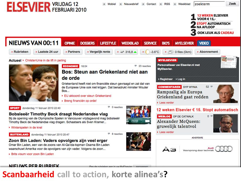 Scanbaarheid call to action, korte alinea's