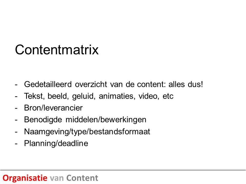 Contentmatrix Organisatie van Content