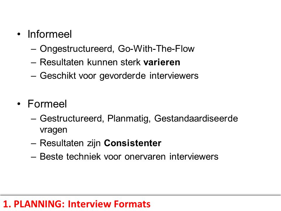1. PLANNING: Interview Formats