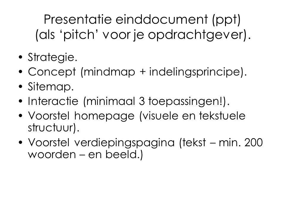 Presentatie einddocument (ppt) (als 'pitch' voor je opdrachtgever).