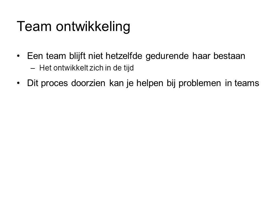 Team ontwikkeling Een team blijft niet hetzelfde gedurende haar bestaan. Het ontwikkelt zich in de tijd.