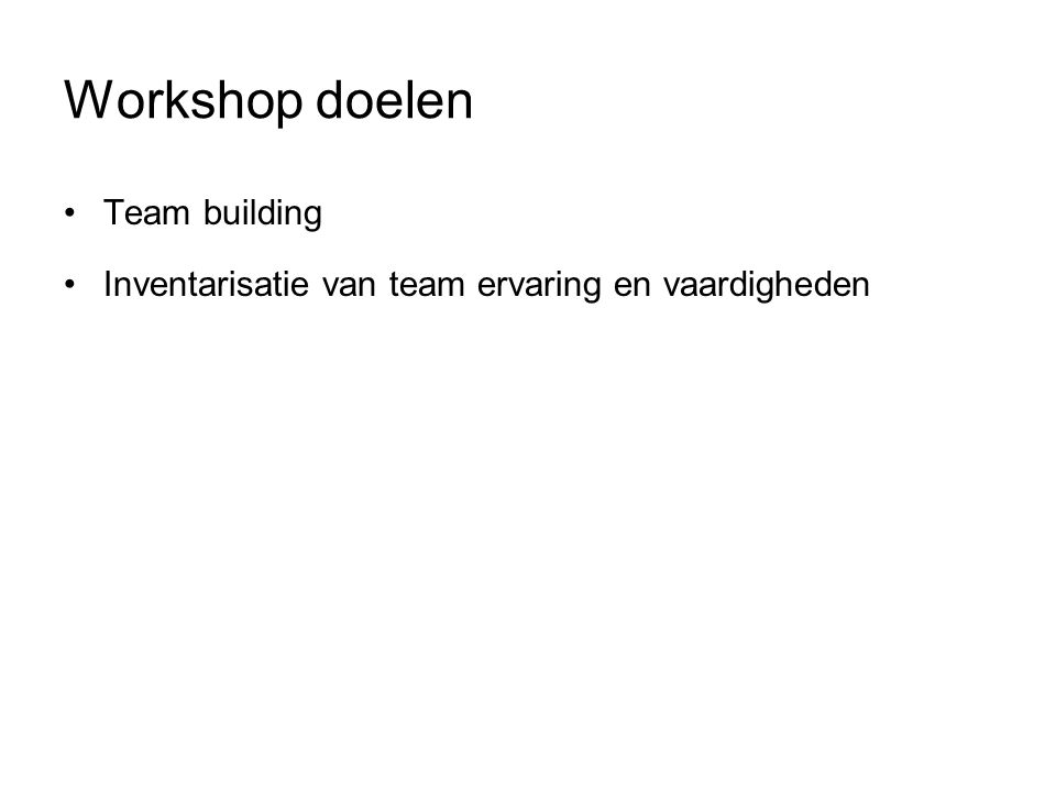 Workshop doelen Team building