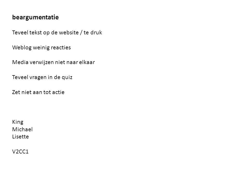 beargumentatie Teveel tekst op de website / te druk