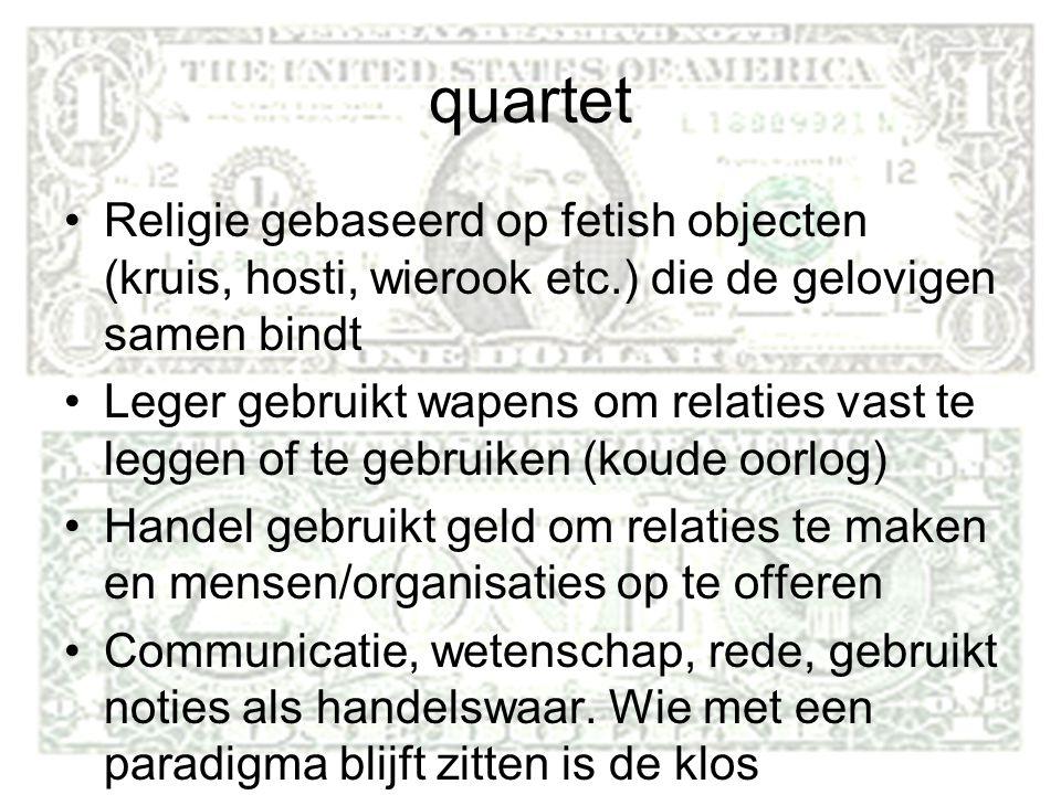 quartet Religie gebaseerd op fetish objecten (kruis, hosti, wierook etc.) die de gelovigen samen bindt.