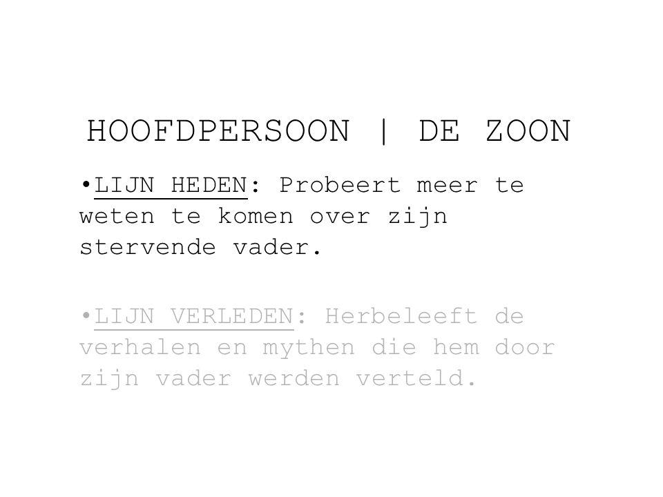 HOOFDPERSOON | DE ZOON LIJN HEDEN: Probeert meer te weten te komen over zijn stervende vader.