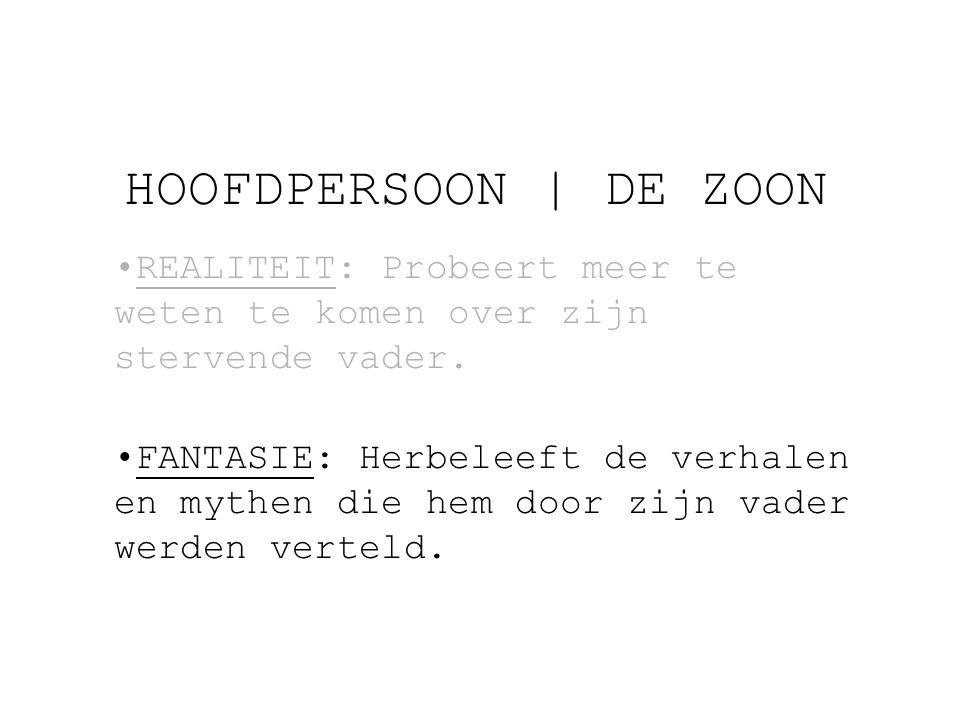 HOOFDPERSOON | DE ZOON REALITEIT: Probeert meer te weten te komen over zijn stervende vader.