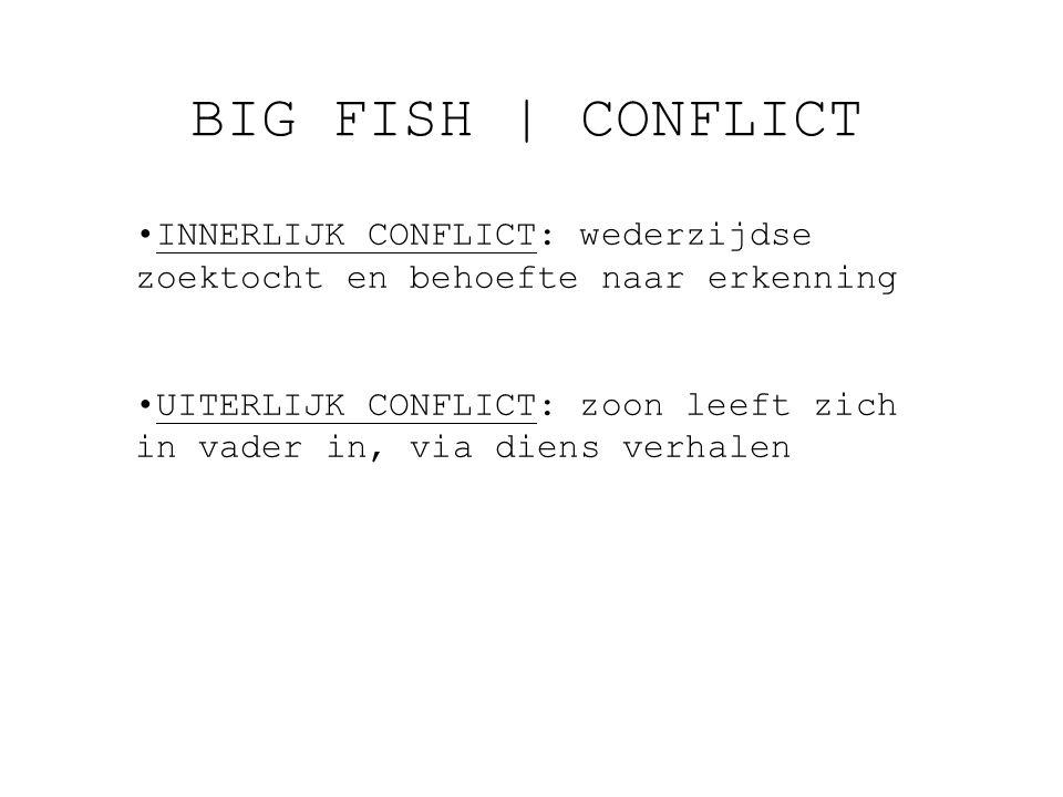 BIG FISH | CONFLICT INNERLIJK CONFLICT: wederzijdse zoektocht en behoefte naar erkenning.