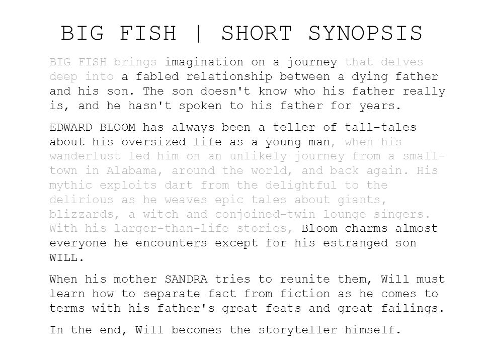 BIG FISH | SHORT SYNOPSIS
