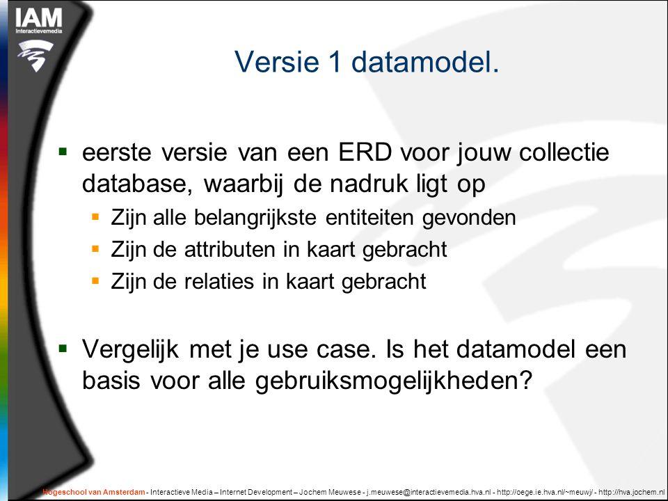 Versie 1 datamodel. eerste versie van een ERD voor jouw collectie database, waarbij de nadruk ligt op.