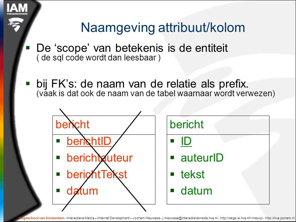 Naamgeving attribuut/kolom