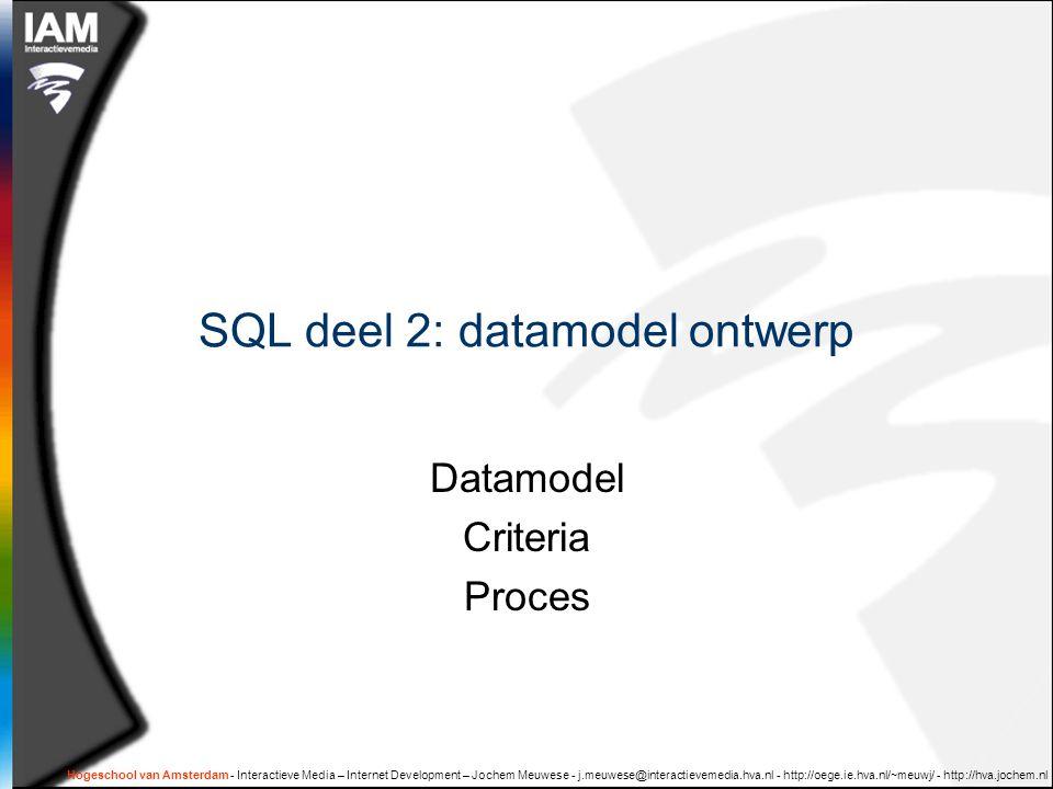 SQL deel 2: datamodel ontwerp