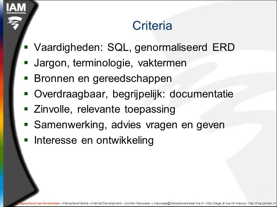 Criteria Vaardigheden: SQL, genormaliseerd ERD