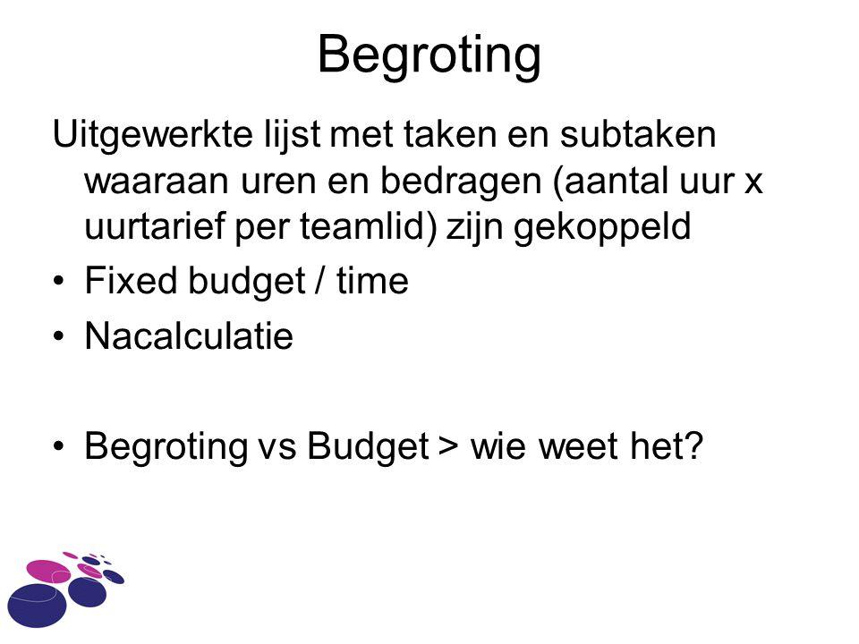 Begroting Uitgewerkte lijst met taken en subtaken waaraan uren en bedragen (aantal uur x uurtarief per teamlid) zijn gekoppeld.