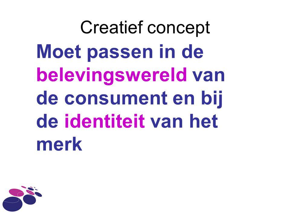 Creatief concept Moet passen in de belevingswereld van de consument en bij de identiteit van het merk.