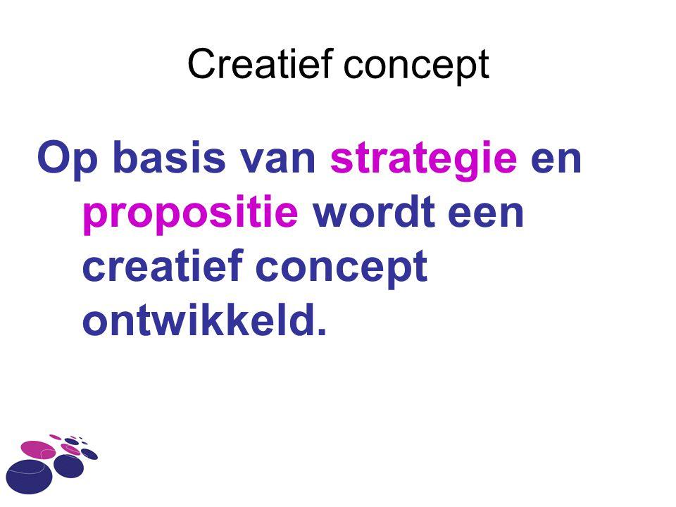 Creatief concept Op basis van strategie en propositie wordt een creatief concept ontwikkeld.
