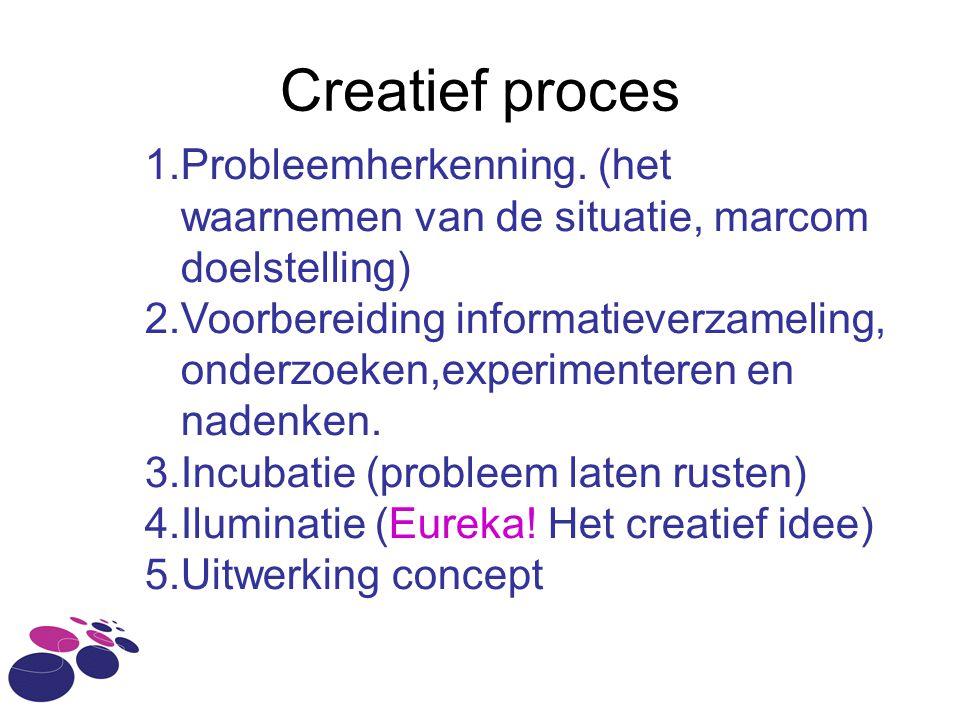Creatief proces Probleemherkenning. (het waarnemen van de situatie, marcom doelstelling)