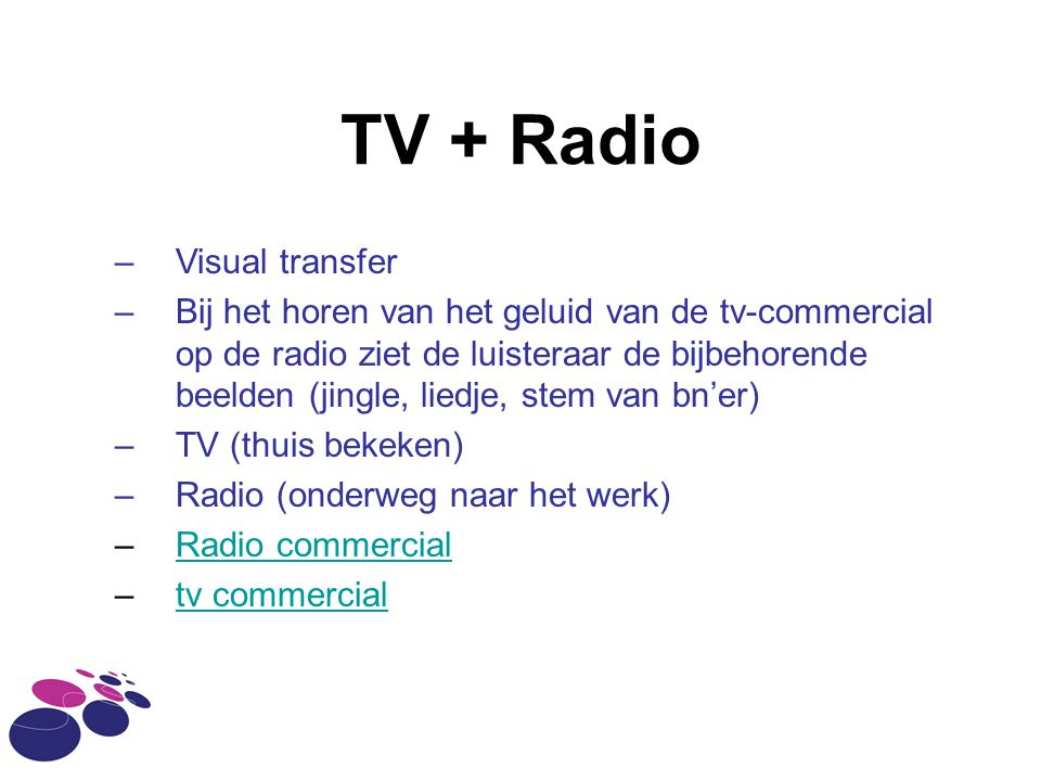 TV + Radio Visual transfer