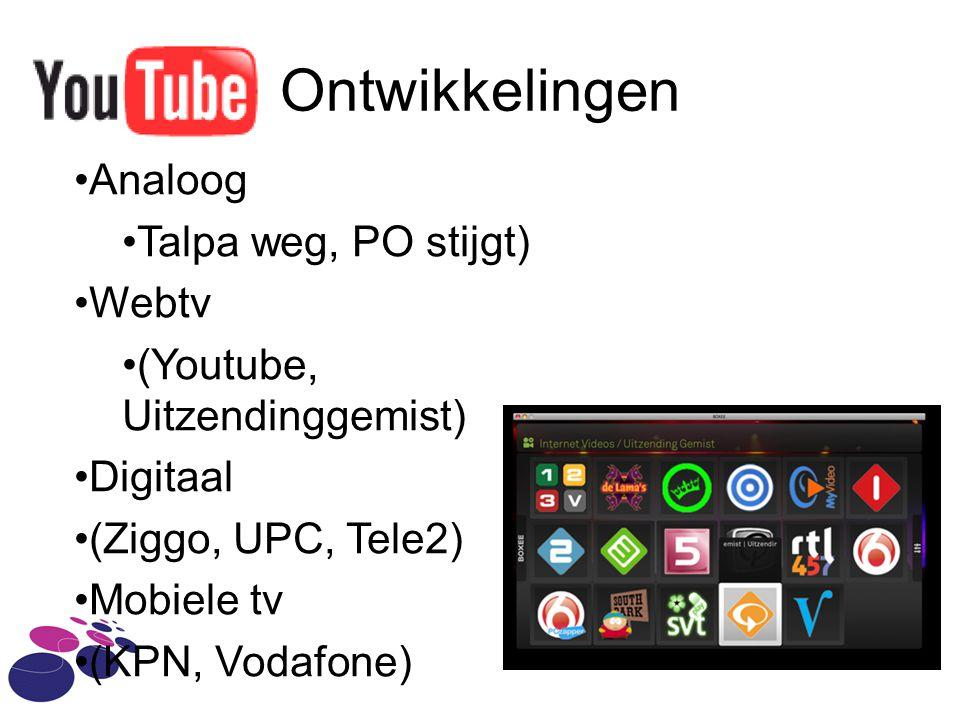 Ontwikkelingen Analoog Talpa weg, PO stijgt) Webtv