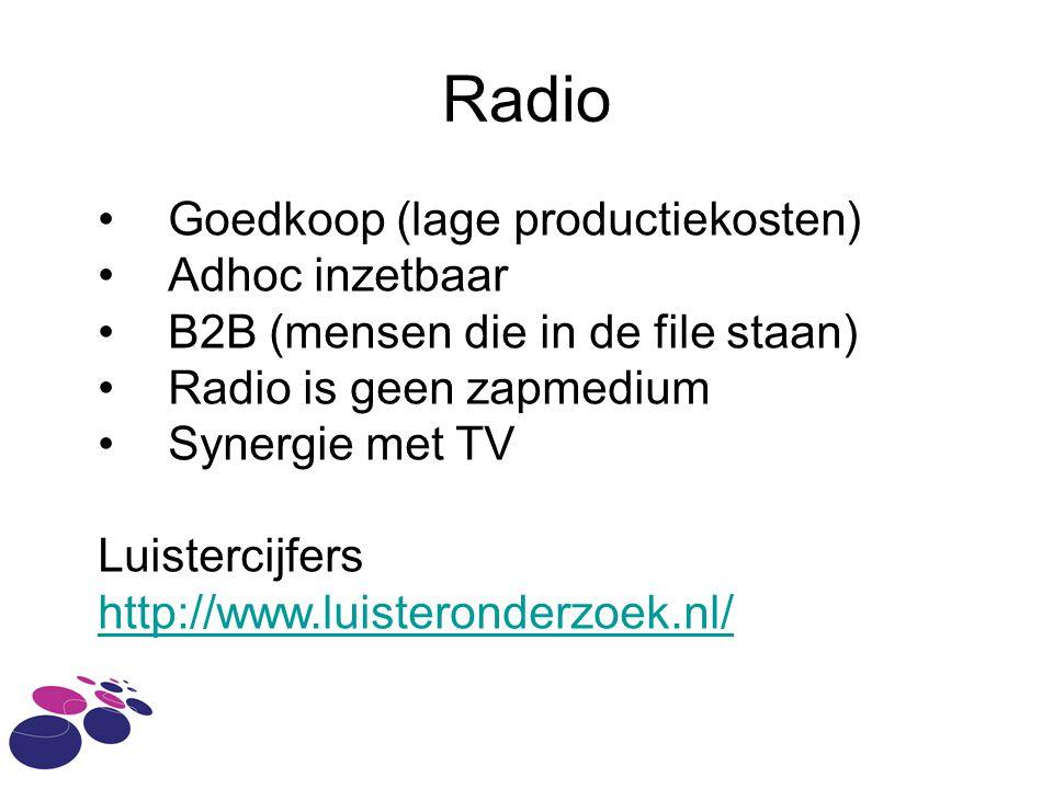 Radio Goedkoop (lage productiekosten) Adhoc inzetbaar
