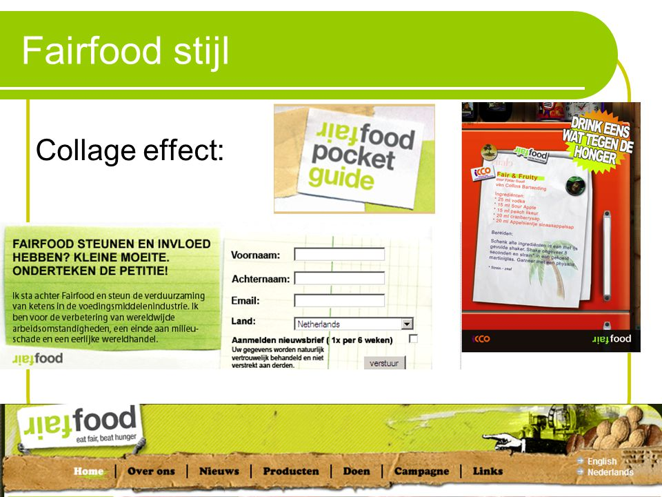 Fairfood stijl Collage effect: