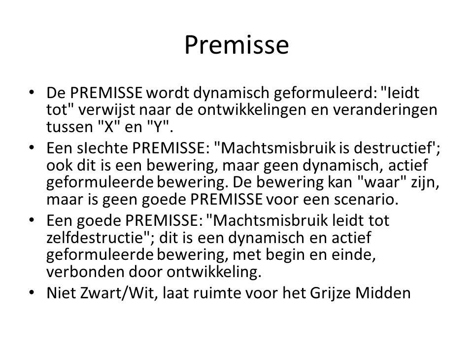 Premisse De PREMISSE wordt dynamisch geformuleerd: Ieidt tot verwijst naar de ontwikkelingen en veranderingen tussen X en Y .