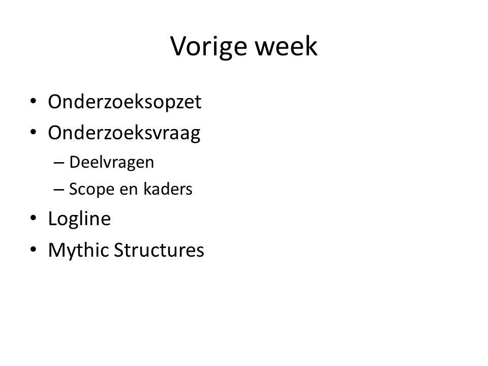 Vorige week Onderzoeksopzet Onderzoeksvraag Logline Mythic Structures
