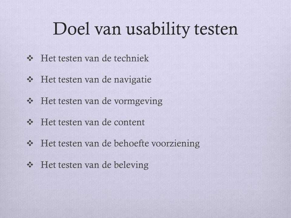 Doel van usability testen