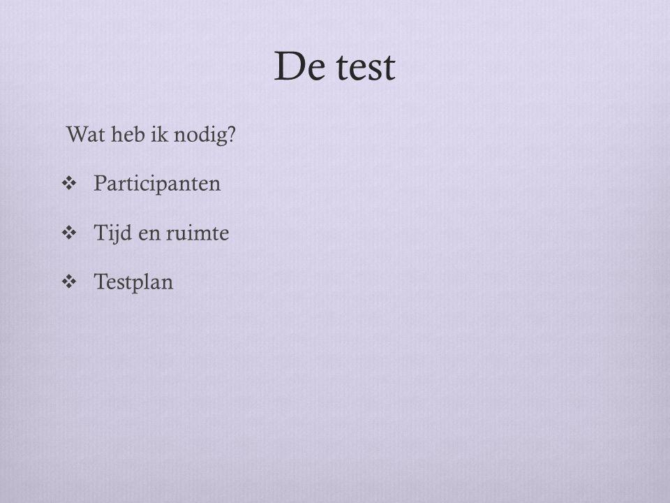 De test Wat heb ik nodig Participanten Tijd en ruimte Testplan