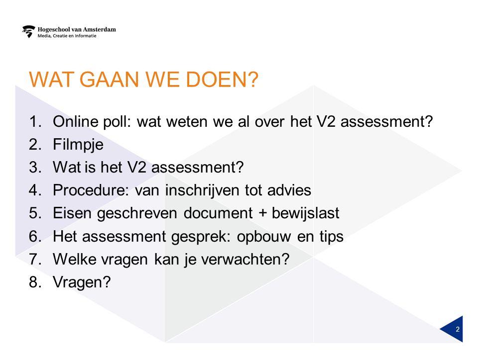 Wat gaan we doen Online poll: wat weten we al over het V2 assessment
